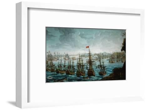 Naval battle between Russian and Swedish Fleet in Baltic Sea--Framed Art Print