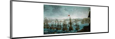Naval battle between Russian and Swedish Fleet in Baltic Sea--Mounted Giclee Print