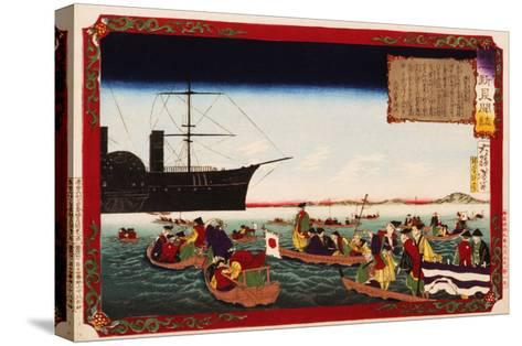 American Navy Commodore Matthew Perry arrives in Japan, August 7, 1853, Woodblock Print-Taiso Yoshitoshi-Stretched Canvas Print
