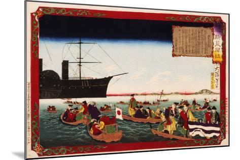 American Navy Commodore Matthew Perry arrives in Japan, August 7, 1853, Woodblock Print-Taiso Yoshitoshi-Mounted Giclee Print