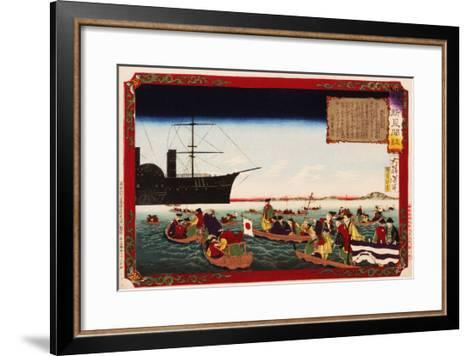 American Navy Commodore Matthew Perry arrives in Japan, August 7, 1853, Woodblock Print-Taiso Yoshitoshi-Framed Art Print