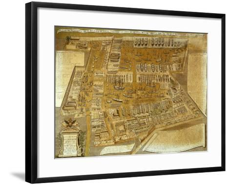 The Arsenal in Venice Showing Ships in Port, Engraving by Abbot Maffioletti--Framed Art Print