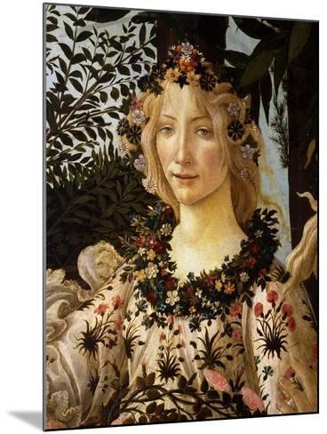 La Primavera, Spring, Detail of Spring, Flora, c.1475-Sandro Botticelli-Mounted Giclee Print