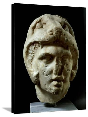 Alexander the Great 356-323 BC, Pentelic Marble Head Wearing Lion Head Helmet--Stretched Canvas Print