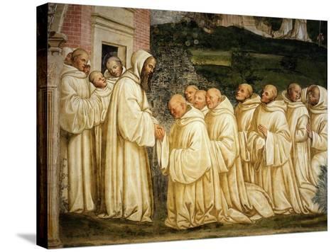 St Benedict of Nursia (480-550) Prays with his Monks, Fresco-Giovanni Antonio Bazzi Sodoma-Stretched Canvas Print