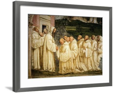 St Benedict of Nursia (480-550) Prays with his Monks, Fresco-Giovanni Antonio Bazzi Sodoma-Framed Art Print