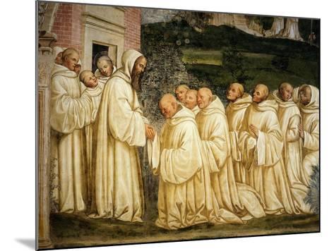 St Benedict of Nursia (480-550) Prays with his Monks, Fresco-Giovanni Antonio Bazzi Sodoma-Mounted Giclee Print