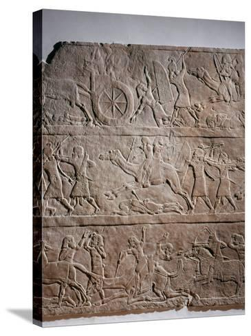 Assyrian Troops of King Ashurbanipal take Asian Territories--Stretched Canvas Print