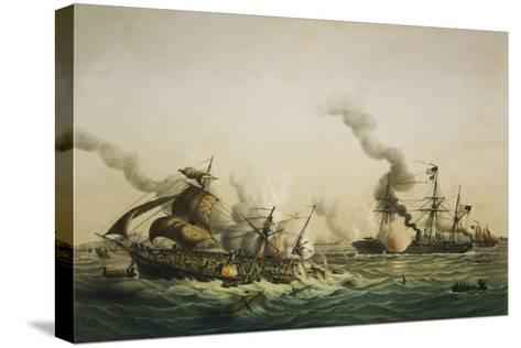 Naval Engagement Between the U.S.S. Kearsarge and the Confederate sea raider Alabama-Lt-Col Lebreton-Stretched Canvas Print
