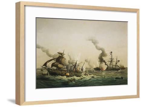 Naval Engagement Between the U.S.S. Kearsarge and the Confederate sea raider Alabama-Lt-Col Lebreton-Framed Art Print
