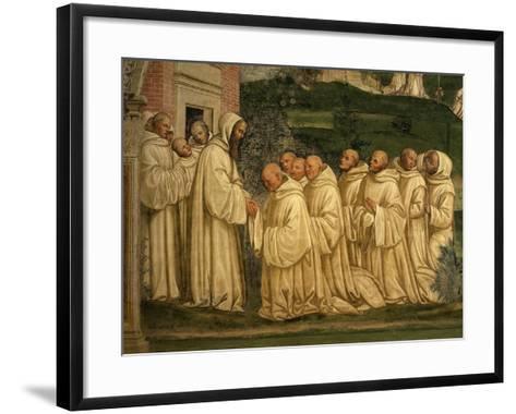 St Benedict of Nursia Prays with his Monks, Fresco-Giovanni Antonio Bazzi Sodoma-Framed Art Print
