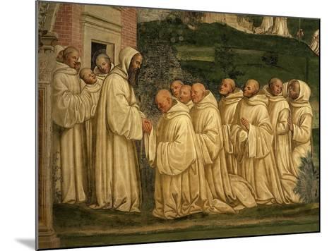 St Benedict of Nursia Prays with his Monks, Fresco-Giovanni Antonio Bazzi Sodoma-Mounted Giclee Print