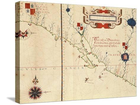 Lower California and West Coast of Mexico, Hydrographic Atlas of 1571 by Fernan Vaz Dourado--Stretched Canvas Print