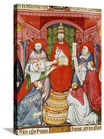Pope Clement VII, 1478-1534 (Giulio de Medici), Dictating his Laws, 16th century Manuscript--Stretched Canvas Print