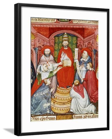 Pope Clement VII, 1478-1534 (Giulio de Medici), Dictating his Laws, 16th century Manuscript--Framed Art Print