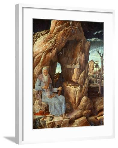 Saint Jerome, 341-420 AD, as Hermit in a Cave-Andrea Mantegna-Framed Art Print