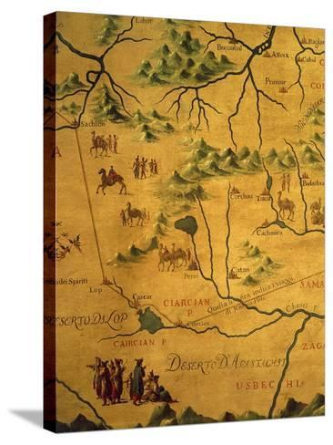 Uzbekistan Region, from Map of Asia Showing Route Taken by Marco Polo--Stretched Canvas Print