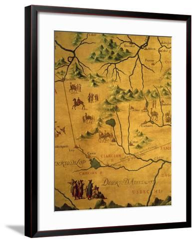 Uzbekistan Region, from Map of Asia Showing Route Taken by Marco Polo--Framed Art Print