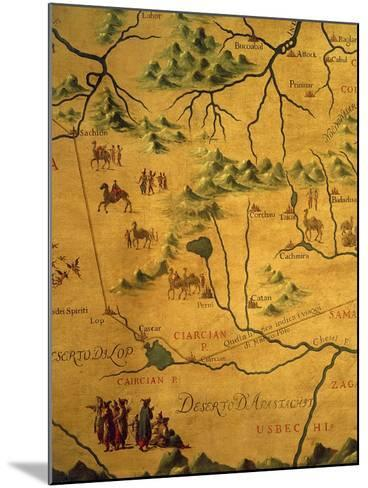 Uzbekistan Region, from Map of Asia Showing Route Taken by Marco Polo--Mounted Giclee Print