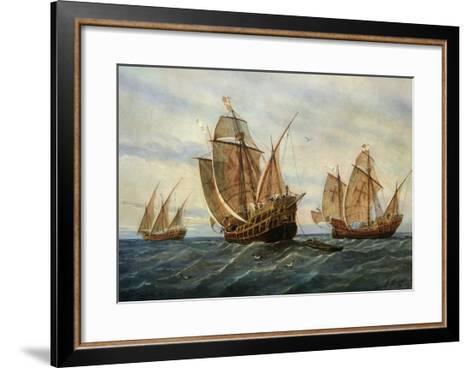 Caravels of Christopher Columbus, 1451-1506 Italian (Genoese) Explorer-Rafael Monleon Y Torres-Framed Art Print