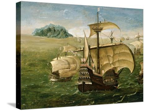 Portuguese Fleet in Early 16th century- Anthoniszoon-Stretched Canvas Print