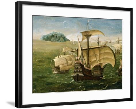Portuguese Fleet in Early 16th century- Anthoniszoon-Framed Art Print