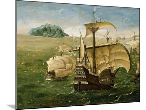 Portuguese Fleet in Early 16th century- Anthoniszoon-Mounted Giclee Print