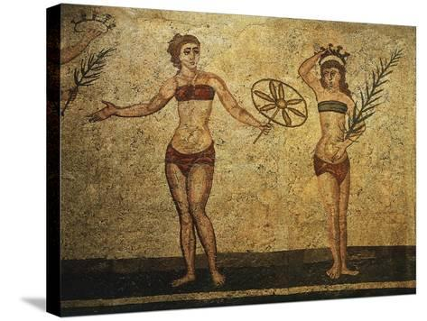 Young Woman Crowning Herself; Another Dancing, Mosaic of Palaestra Games, Roman villa, Casale--Stretched Canvas Print