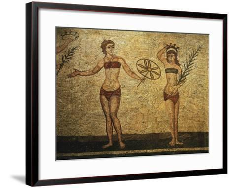 Young Woman Crowning Herself; Another Dancing, Mosaic of Palaestra Games, Roman villa, Casale--Framed Art Print