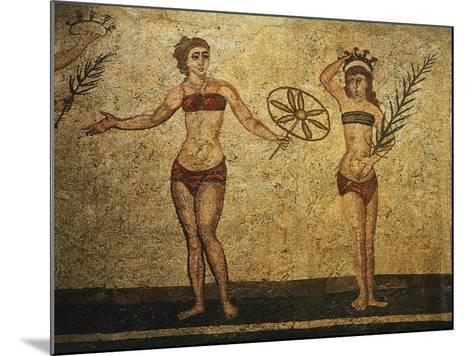 Young Woman Crowning Herself; Another Dancing, Mosaic of Palaestra Games, Roman villa, Casale--Mounted Giclee Print