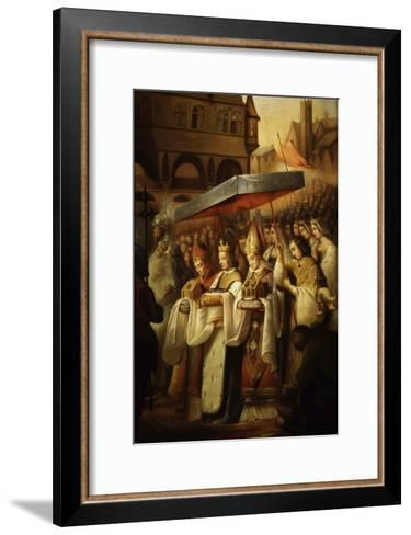 Saint Louis IX, 1214-70 King of France, Carrying Holy Relics to the Sainte Chapelle, Paris-Claude Jacquand-Framed Art Print