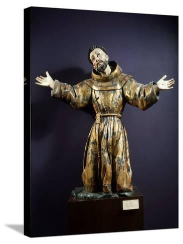 Saint Francis of Assisi in Ecstasy, Painted and Gilded Wood, 17th century Mexican--Stretched Canvas Print