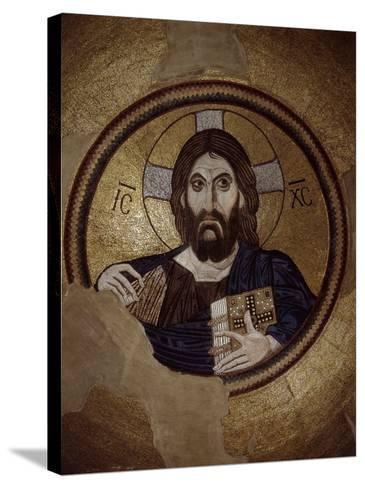 Christ Pantocrator, Mosaic, Cupola, Daphni Monastery, late 11th century Byzantine, Greece--Stretched Canvas Print