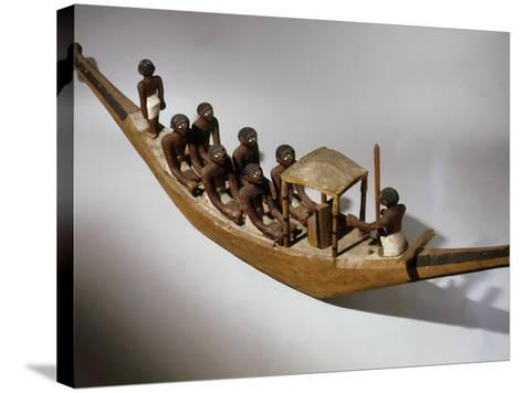 Boat, Model, Painted Wood c. 2000 BC Middle Kingdom Egyptian--Stretched Canvas Print
