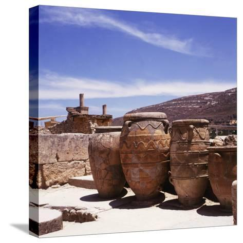 Greece: Carved Stone Pots on Archaeological Site, Knossos, Aegean Island of Crete--Stretched Canvas Print