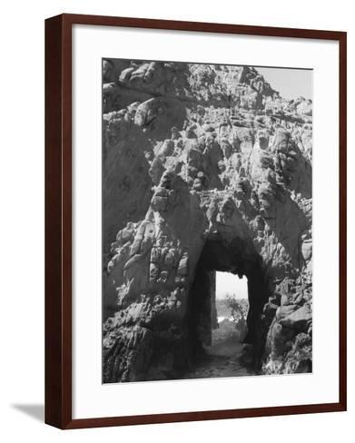 Beach Cave with Water Flooding Through-Rob Lang-Framed Art Print