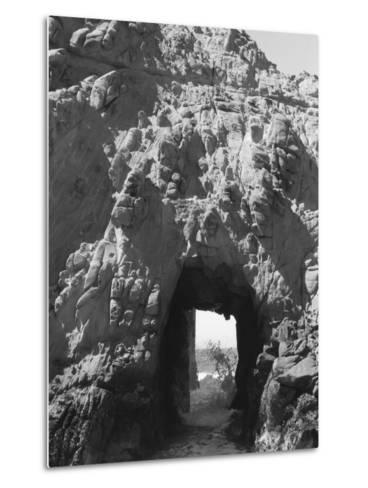 Beach Cave with Water Flooding Through-Rob Lang-Metal Print