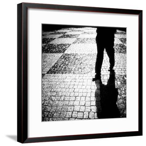 Silhouette of Mans Legs Walking on Cobblestone Street at Night-Elke Hesser-Framed Art Print