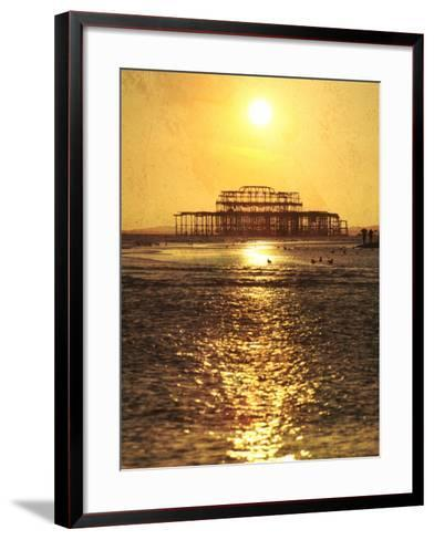 Sun over Ruin of West Pier, Brighton, Sussex, England-Neil Overy-Framed Art Print