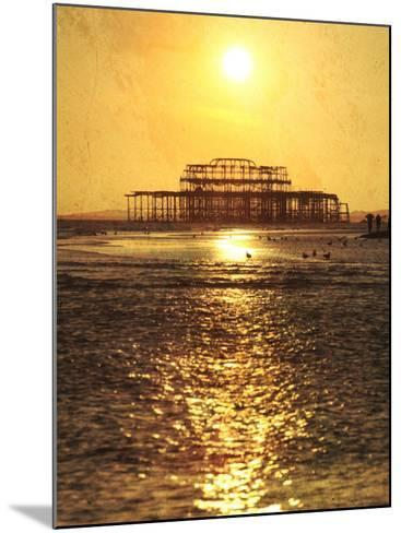 Sun over Ruin of West Pier, Brighton, Sussex, England-Neil Overy-Mounted Photographic Print