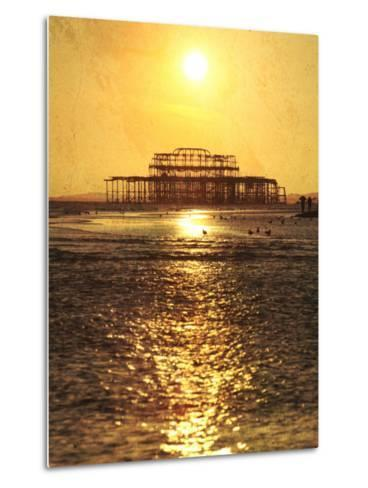 Sun over Ruin of West Pier, Brighton, Sussex, England-Neil Overy-Metal Print