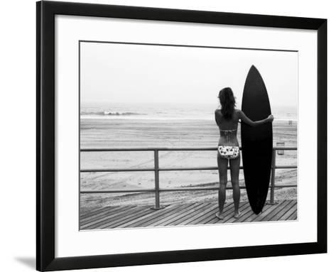 Model with Black Surfboard Standing on Boardwalk and Watching Wave on Beach-Theodore Beowulf Sheehan-Framed Art Print