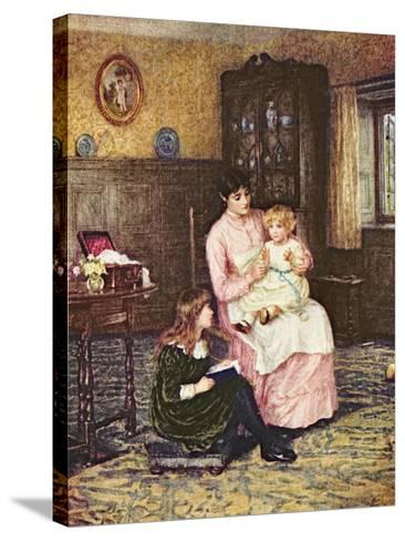 Mother Playing with Children in an Interior-Helen Allingham-Stretched Canvas Print