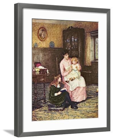 Mother Playing with Children in an Interior-Helen Allingham-Framed Art Print
