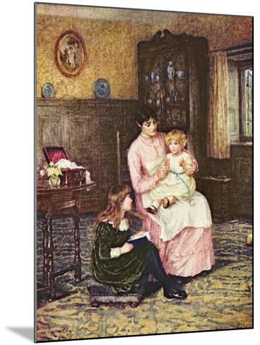 Mother Playing with Children in an Interior-Helen Allingham-Mounted Giclee Print