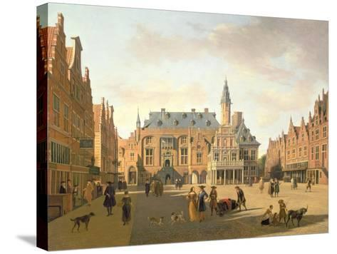 The Market Place with the Raadhuis, Haarlem-Gerrit Adriaensz Berckheyde-Stretched Canvas Print