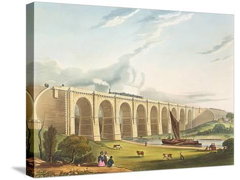 Viaduct across the Sankey Valley, Plate 'Liverpool and Manchester Railway', engraved by Henry Pyall-Thomas Talbot Bury-Stretched Canvas Print