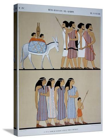 Fresco of the Tomb of Nevothph at Beni-Hassan-El-Qadim-Jean Francois Champollion-Stretched Canvas Print
