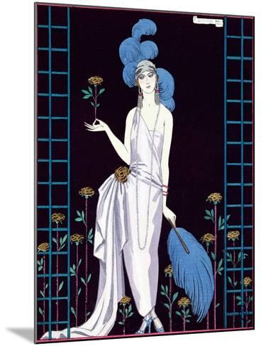 La Roseraie', Fashion Design for an Evening Dress by the House of Worth-Georges Barbier-Mounted Giclee Print