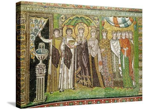 Empress Theodora with her Court of Two Ministers and Seven Women, c.547 AD--Stretched Canvas Print